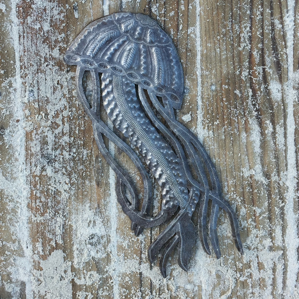 Haitian Jellyfish recycled metal art