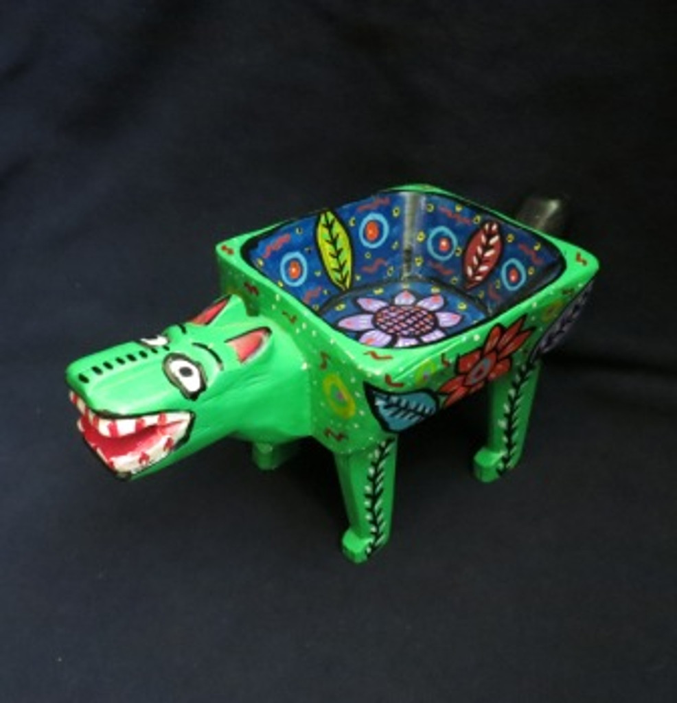 """Hand Carved Green Animal Bowl 11"""" X 5.5"""""""