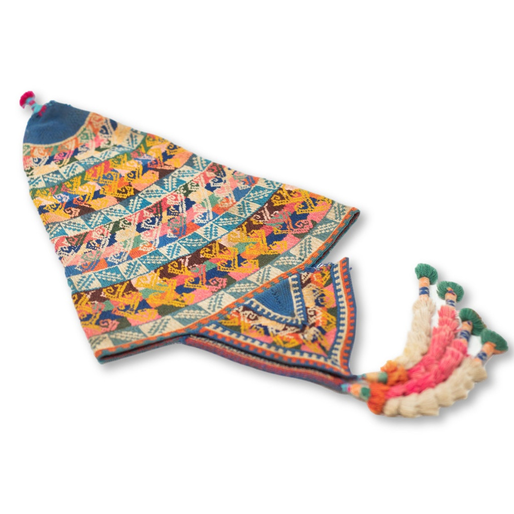 """This vintage Andean Peruvian Bolivian ch'ullo colorful alpaca wool knit ear-flap folk hat dates from the mid 20th century. Bolivian ch'ullo style knit hat has ear-flaps for warmth and is missing the tie strap to secure under the chin.  22"""" from top to ear-flaps 10"""" width"""