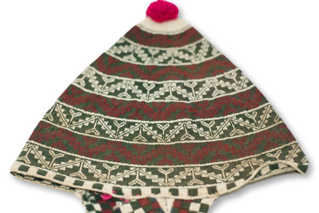 This vintage Andean Peruvian Bolivian ch'ullo colorful alpaca wool knit ear-flap folk hat