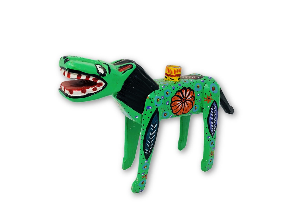 """Hand Carved Horse Candle Holder, Unique Hand painted wood from Guatemala 12"""" x 8"""""""