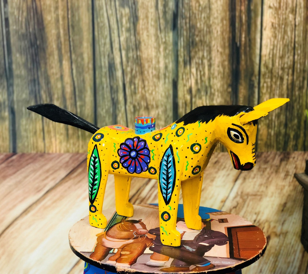 """Hand Carved Donkey Candle Holder, Colorful home decor, Unique, Handmade in Guatemala 14"""" x 8"""""""