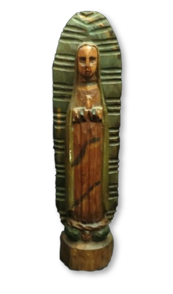 virgin Mary wooden statue, Our Lady of Guadalupe