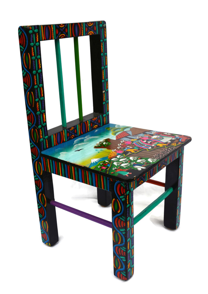 "Tigua Hand Painted Children's Chair 12"" x 12"" x 23"""