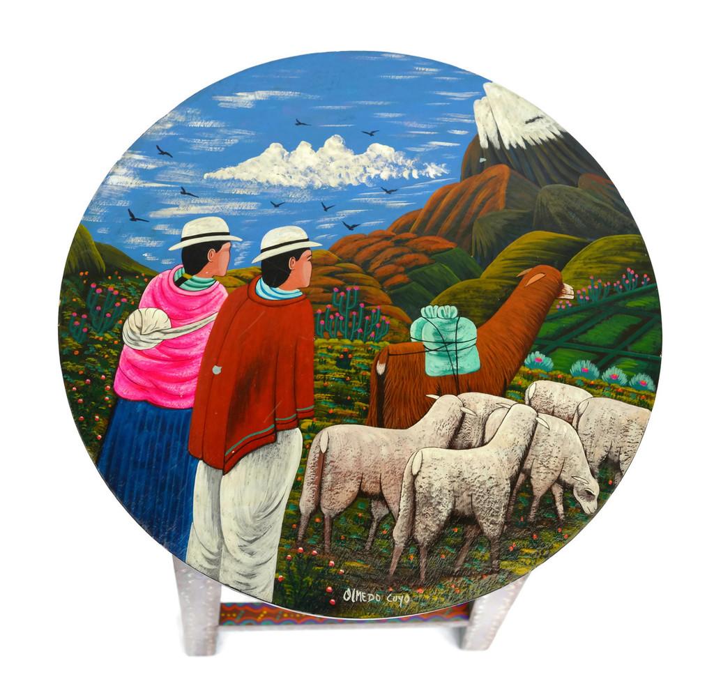 "Tigua Ecuador Hand Painted Stool 1 11.75"" x 10.75"" x 23.5"""