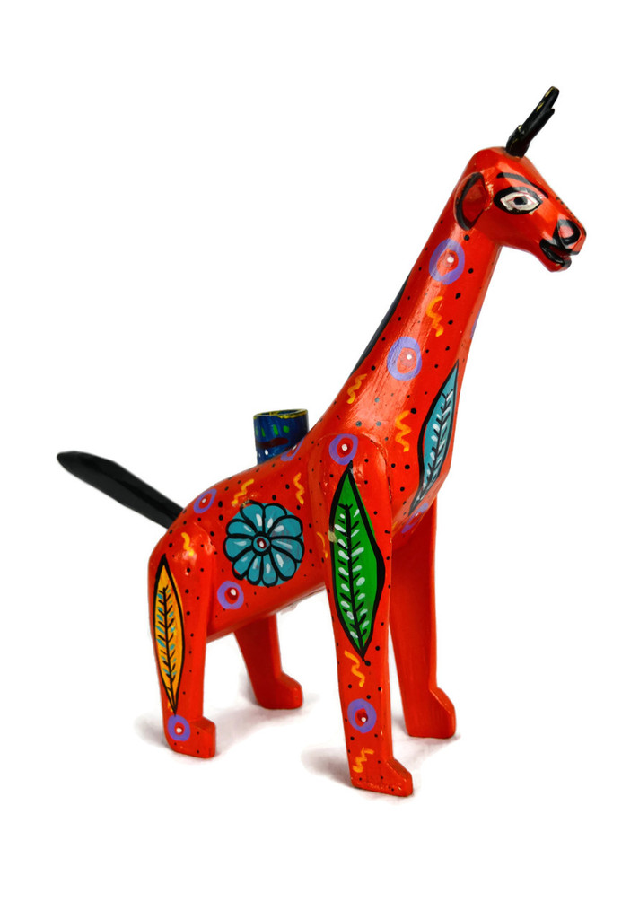 """Hand Carved Giraffe Candle Holder 13.5"""" x 12"""""""