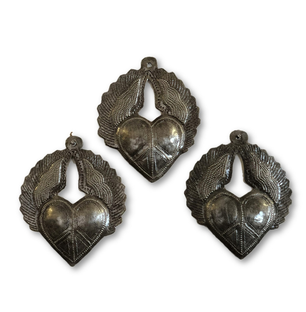 "Mini Milagro Metal Hearts (set of 3), Peace Sign engraved, Handmade in Haiti 3.5"" x 4"" Active"