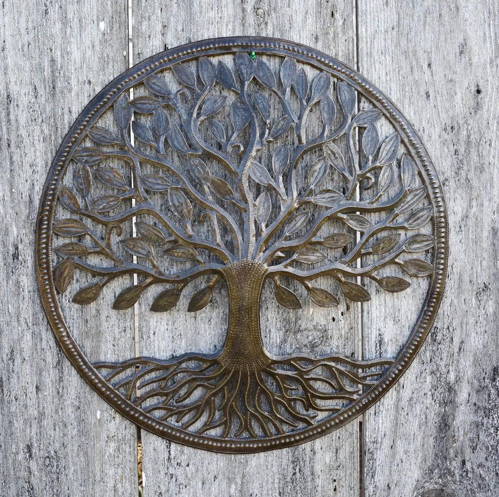 "Steel Drum Organic Tree of Life Recycled Metal Art from Haiti , 23"" X 23"", Patio Yard Art"