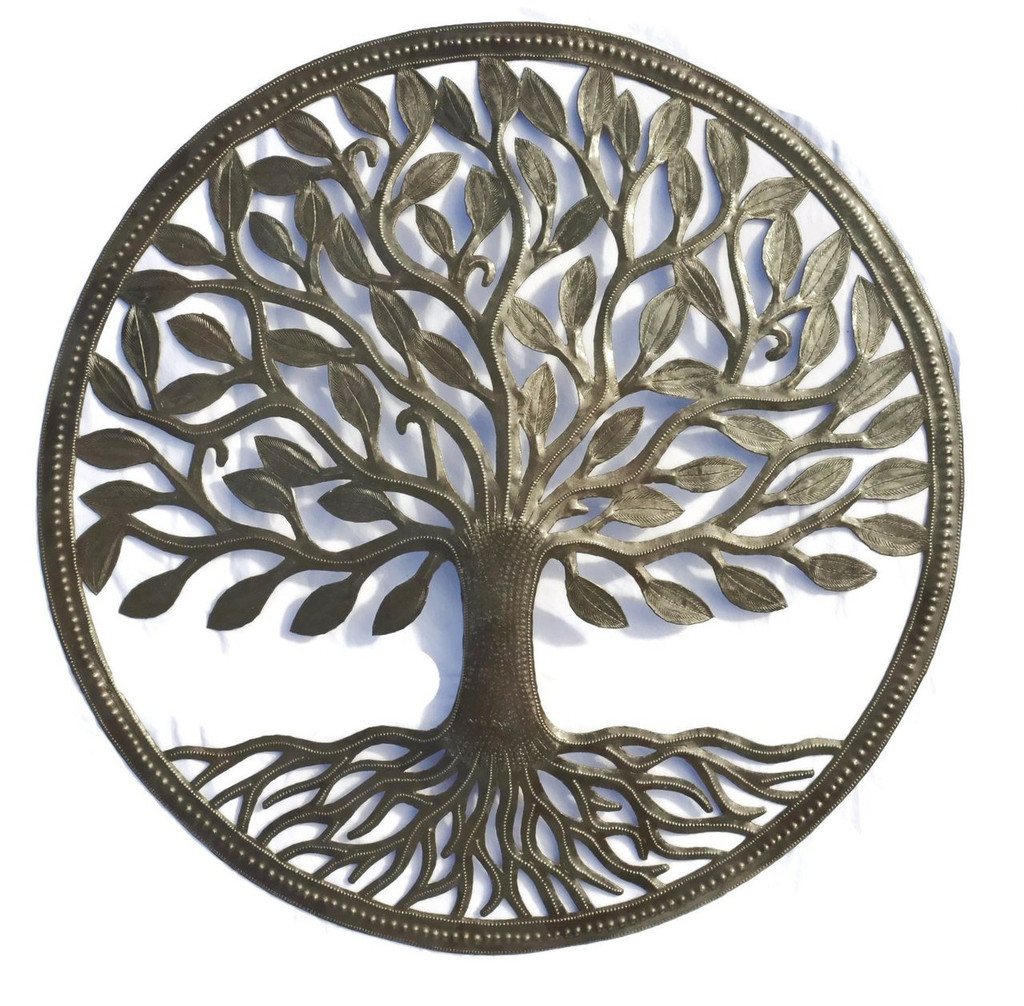 "Tree of life, Symbolic wall art, Haiti, Steel Drum Organic Tree of Life Recycled Metal Art from Haiti , 23"" X 23"""