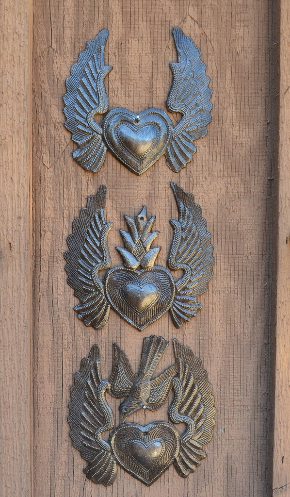 """Heart with Wings, Flaming Heart, Flying Heart, (Set of 3) 5"""" x 5.25"""""""