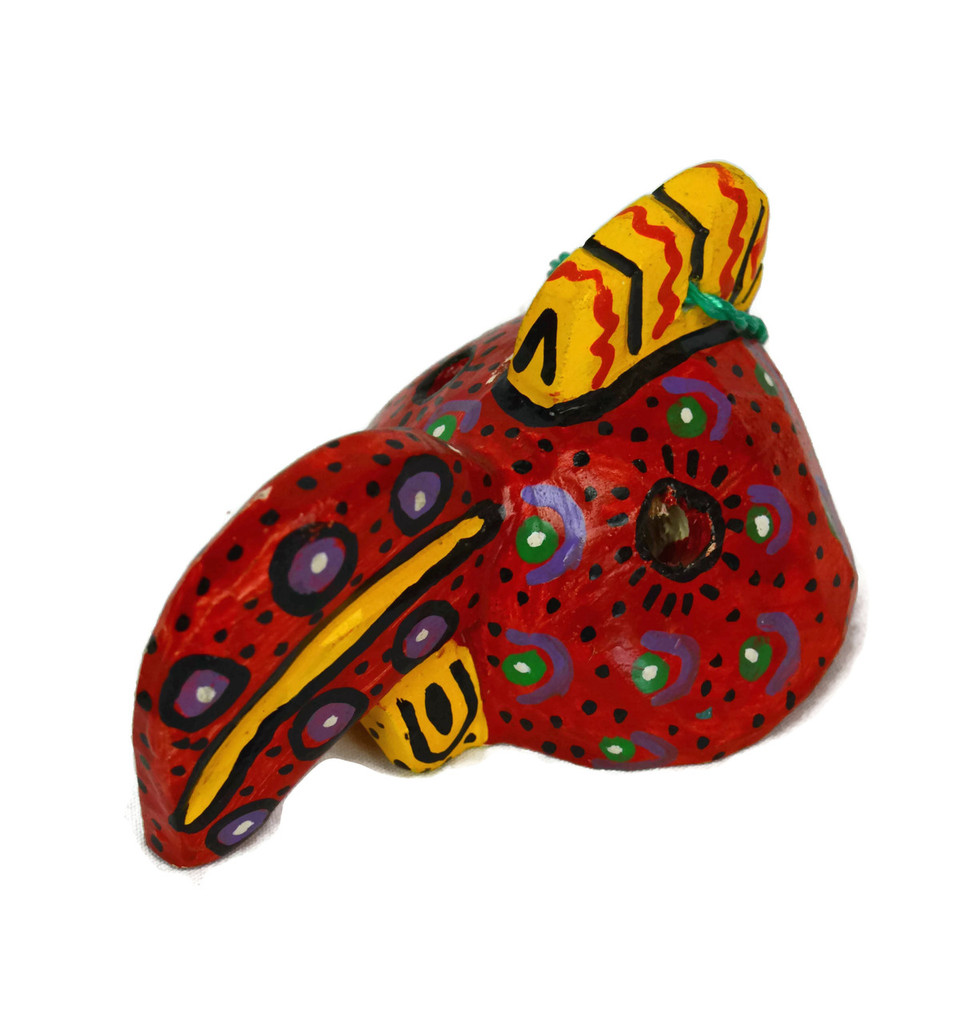"Ornamental Hancrafted Bird Mask 3"" x 4"""