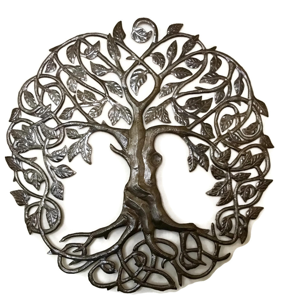 Tree of Life metal work, Haiti Metal Wall Art, Recycled oil drums