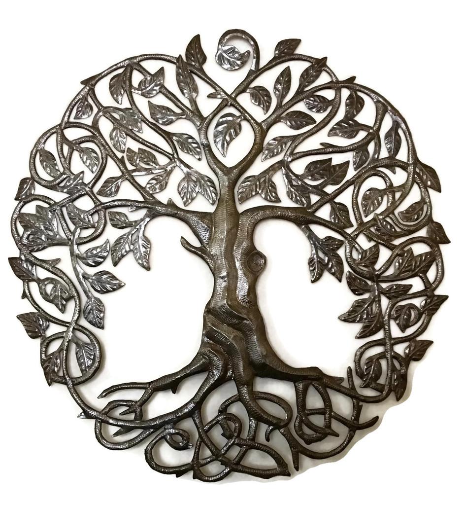 Tree of Life metal work, Haiti Metal Wall Art, Recycled oil drums
