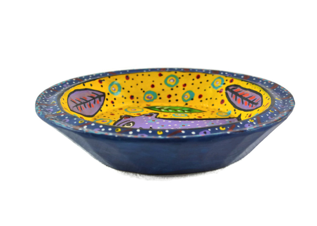 Blue Bowl Hand Painted from Guatemala 8""