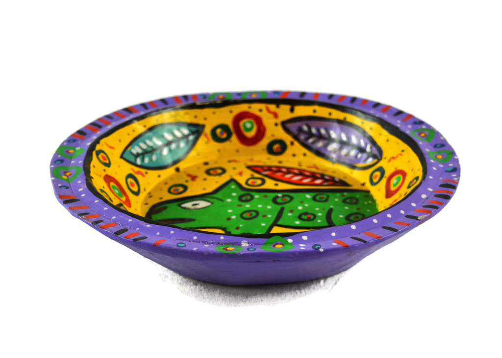 """Purple Bowl Hand Painted from Guatemala 8"""""""