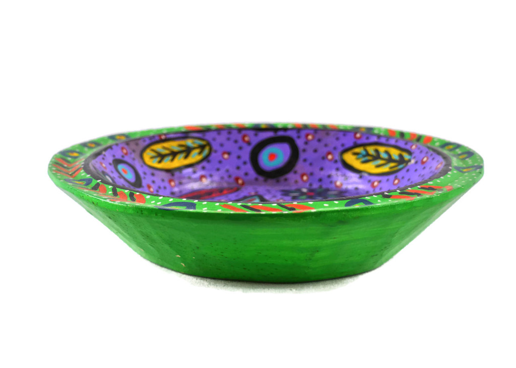 Green Bowl Hand Painted from Guatemala 8""
