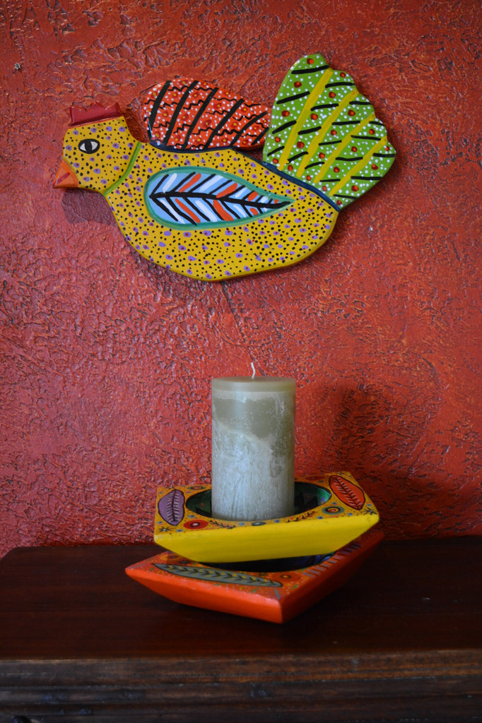 "Orange Square Bowl Hand Painted from Guatemala 6.5"" x 8.25"""