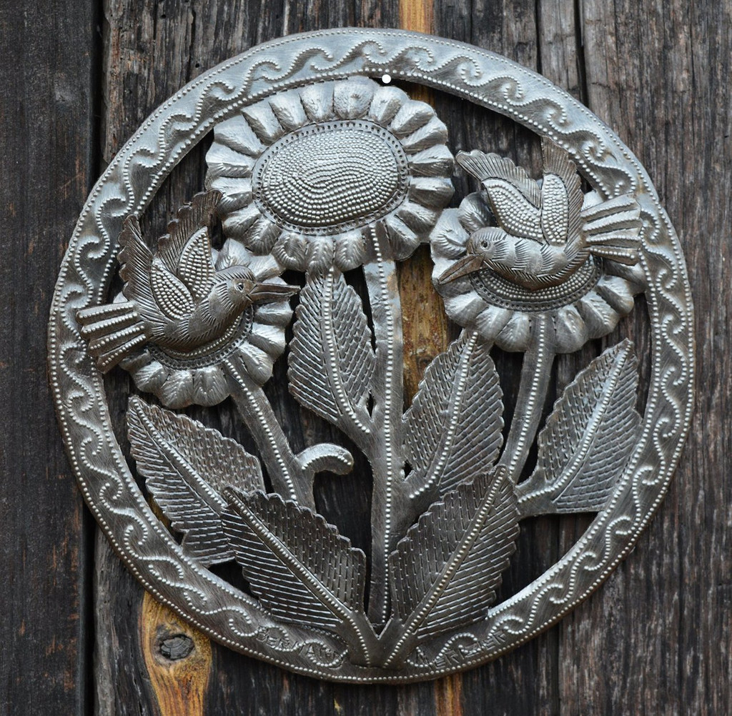 """Sunflowers and Hummingbirds Recycled Garden Wall art from Haiti  SM712, 10.5"""" X 10.5"""", Spring Patio Yard Decoration"""