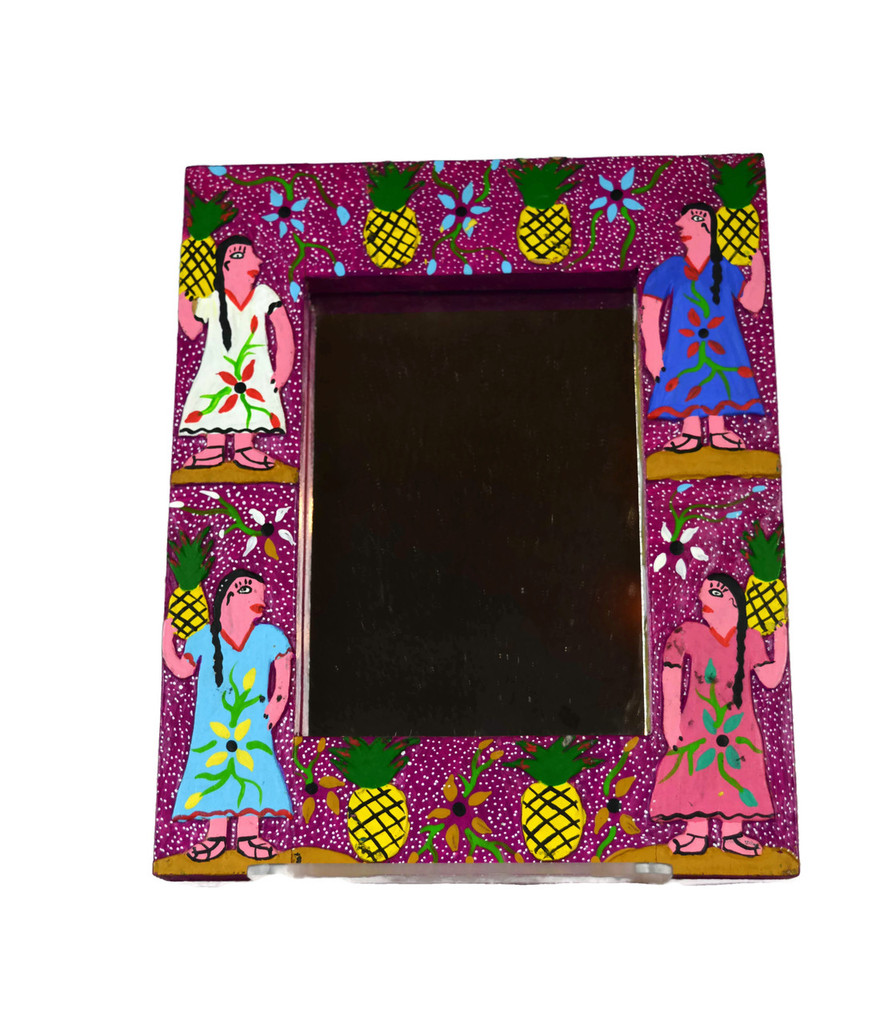 """Whimsical Hand Painted Mirror 7"""" x 8.5"""""""