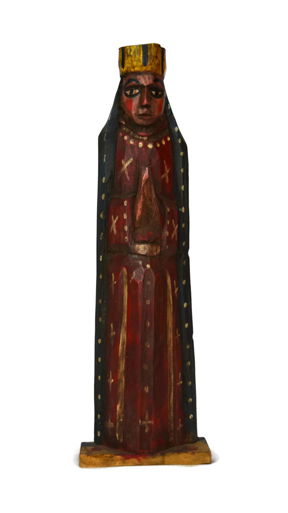 "Hand Carved Saint Mary, Our Lady of Guadalupe,  4.75"" x 14.75"""