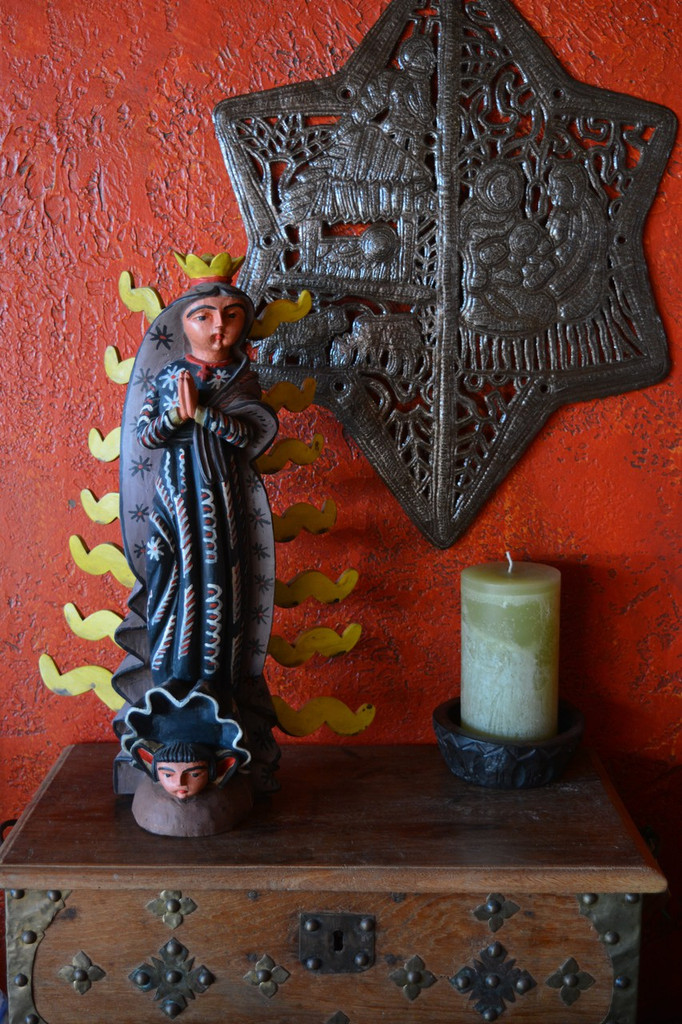 """Our Lady of Guadalupe, Hand Carved Saint Mary 10.5"""" X 17"""""""