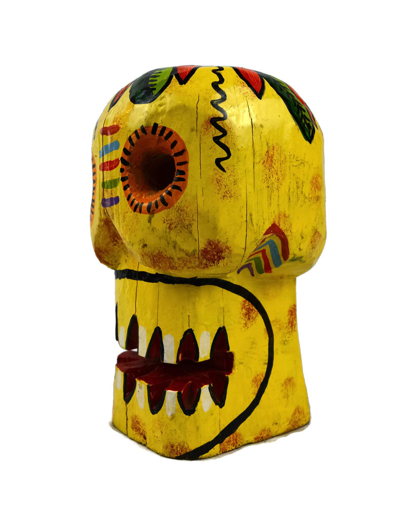 hand painted carved wooden skull, Guatemalan