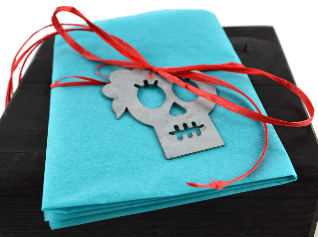 day of the dead steel skeleton in a top hat , gift tag , ornament