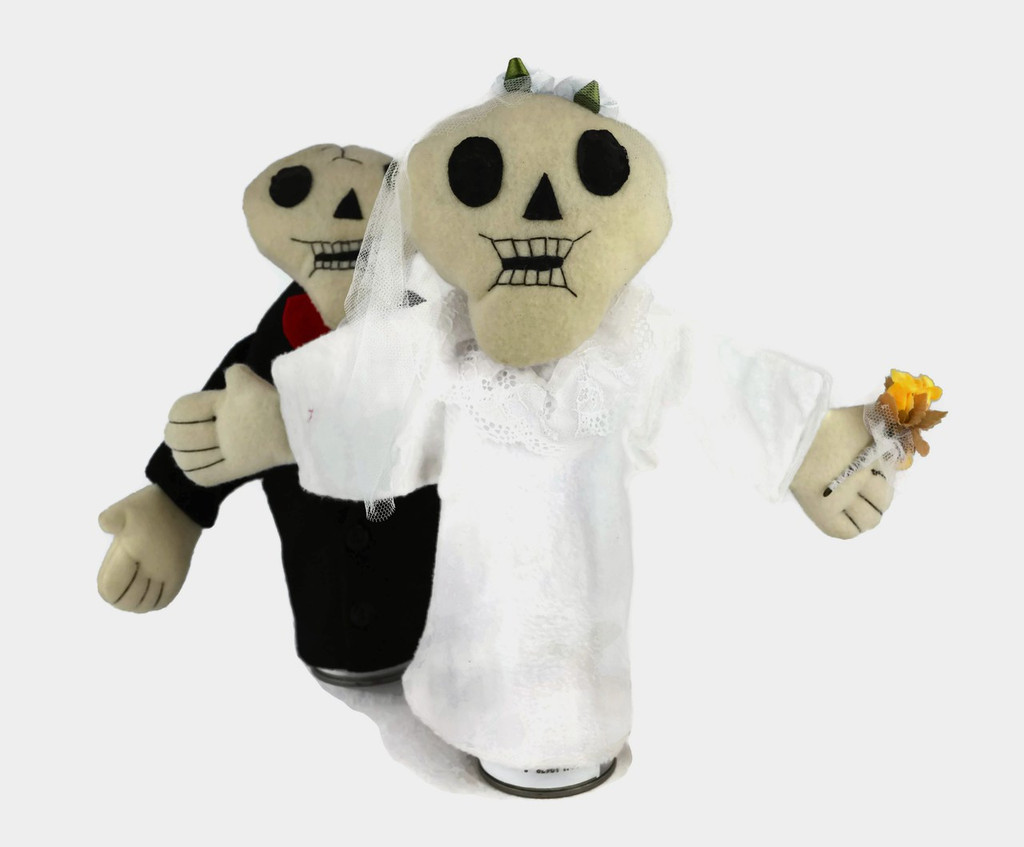 Bride and Groom Hand Puppet Skeletons 11""