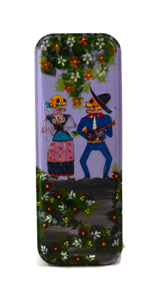"Day of the Dead Pencil Box Holder, Skeleton Couple 3"" x 8"""