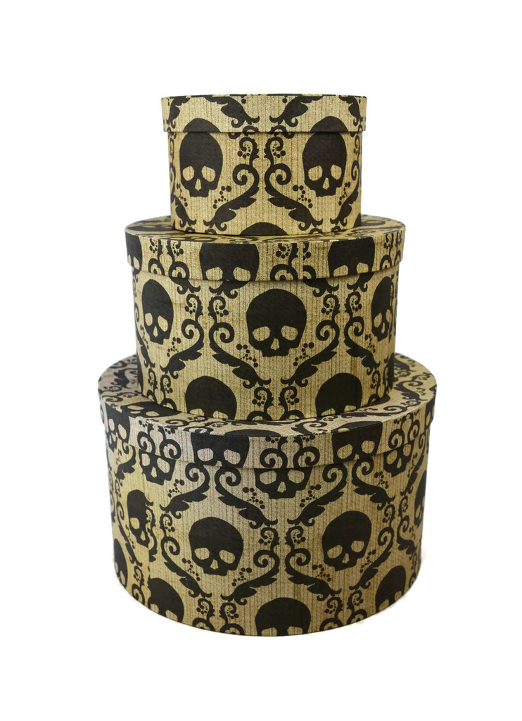 """Day of the Dead Antique Hat Box (set of 3) 5"""" x 9"""""""