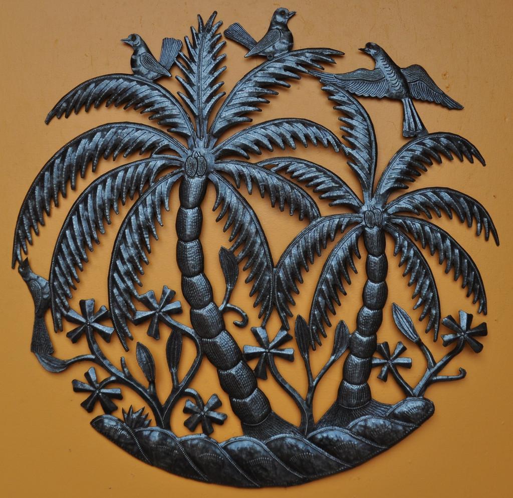 Palm trees and Birds - Haiti Metal Garden Art