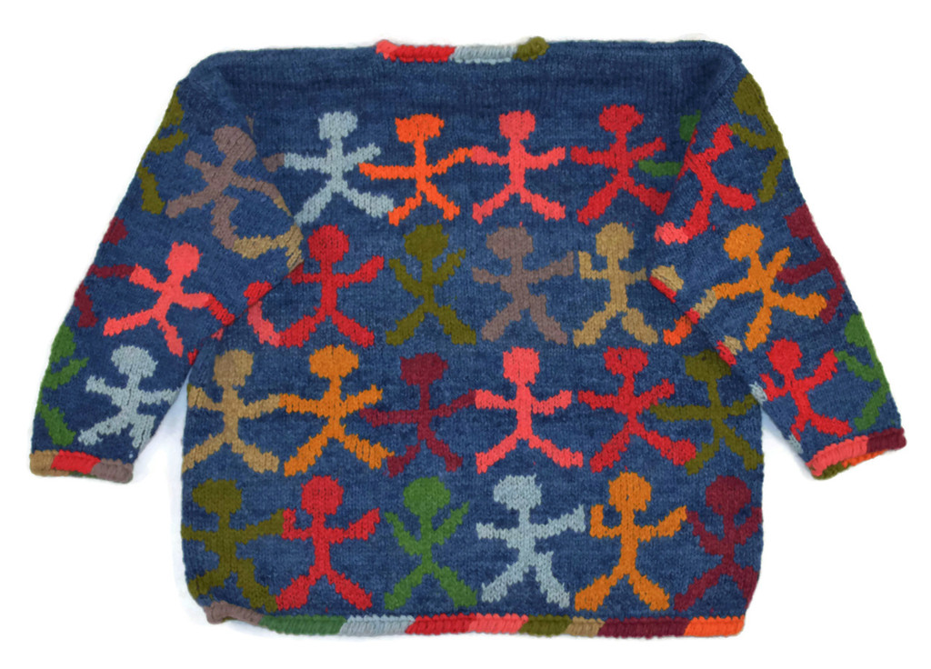 Bolivian Sweater 100% wool, Women's one size fits all super warm back