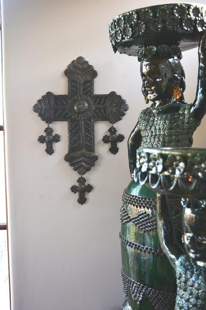 FOLK ART CROSS, LATIN AMERICAN HOME ART, HAITI, METAL WALL ART