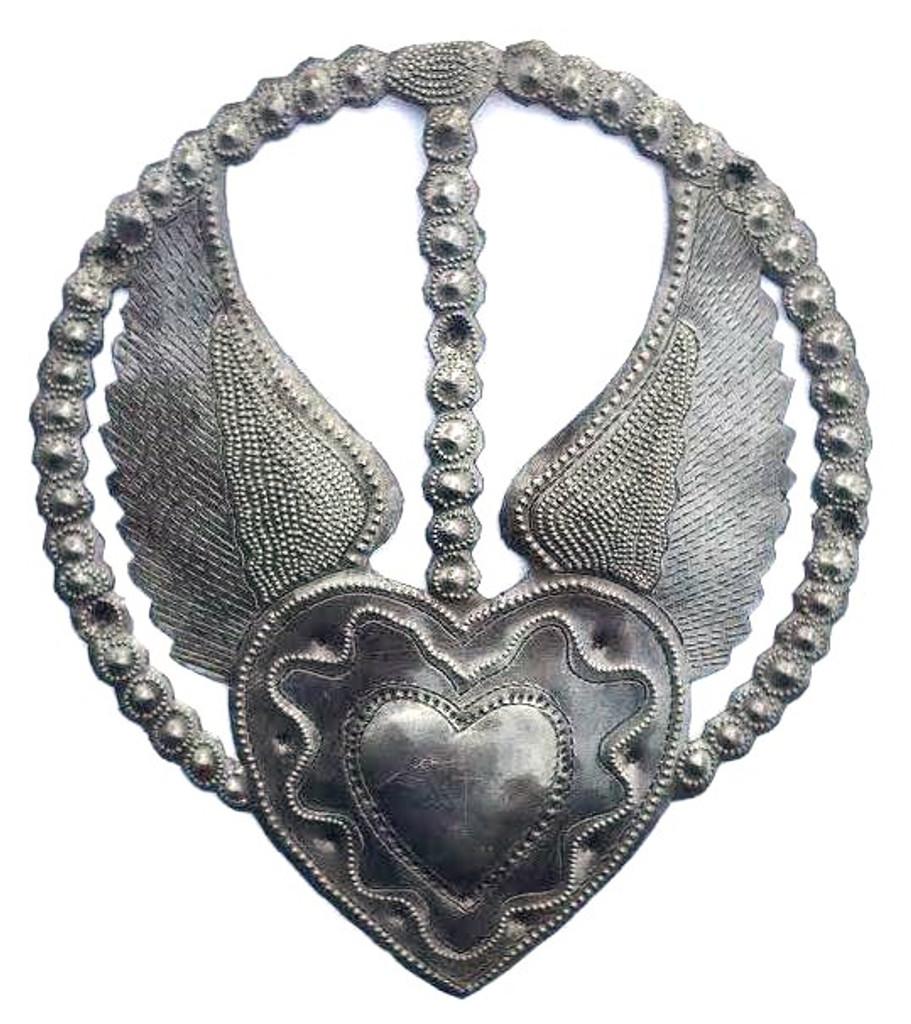 devotional heart, rosary with milagro heart, haiti metal