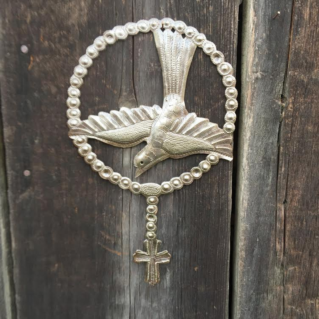Religious bird with cross, Rosary , handmade in Haiti