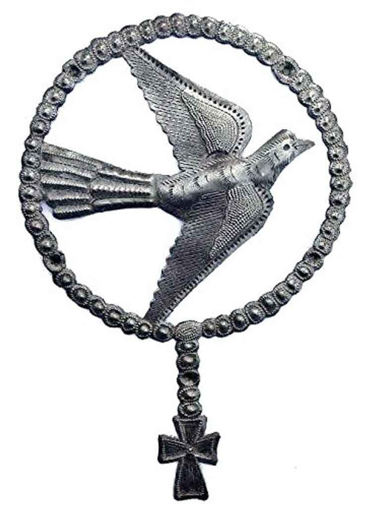 Holy art, Rosary Dove with cross, Haiti Metal Art, It's Cactus Metal Art Haiti