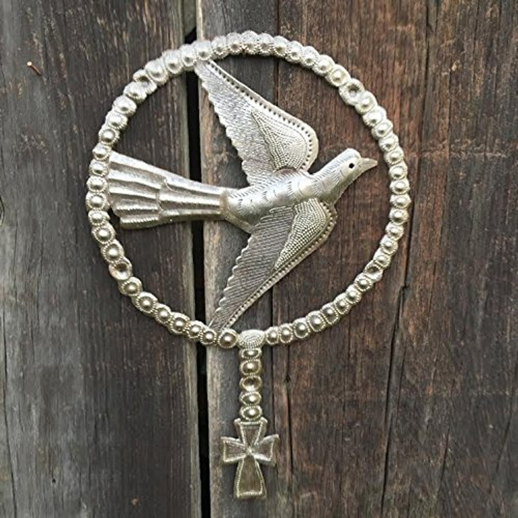 Indoor and outdoor metal art, Religious art, bird, cross, handmade in Haiti