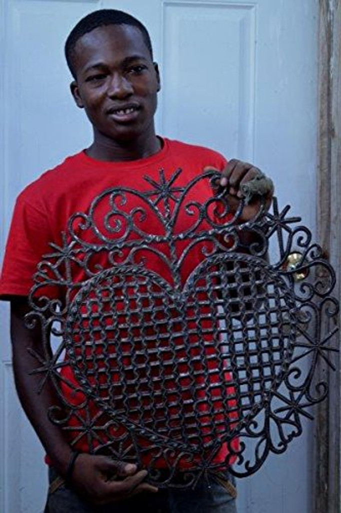 "Heart, Traditional Haiti Symbol of Protection and Love, Recycled Metal Wall Art 23"" X 22.5"", fair trade artists"