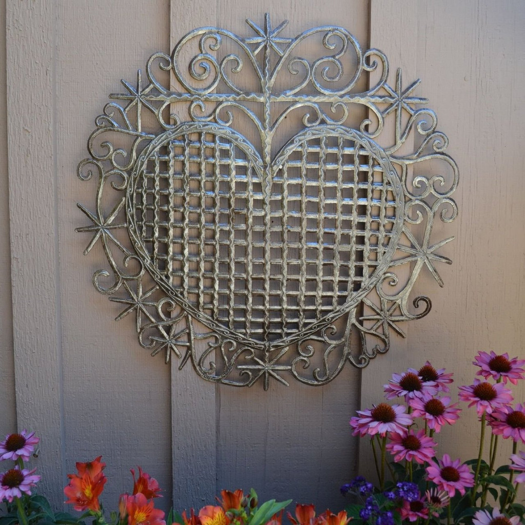 "Heart, Traditional Haiti Symbol of Protection and Love, Recycled Metal Wall Art 23"" X 22.5"", Mother's day gift"