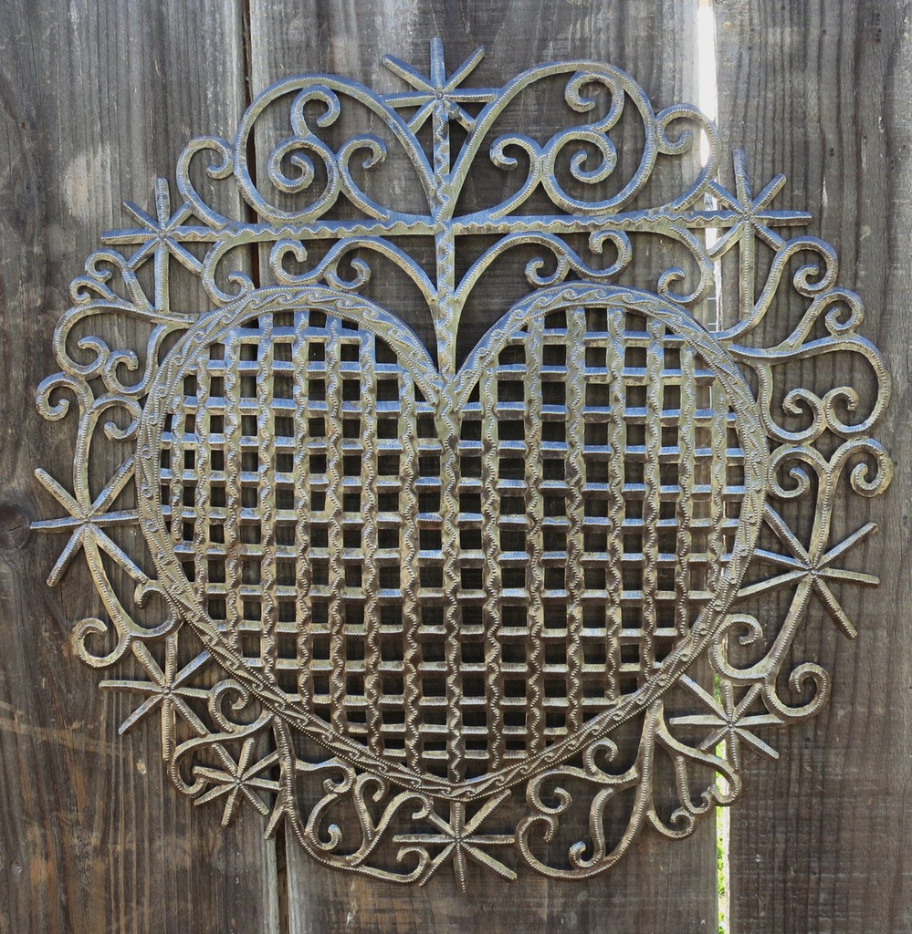 "Heart, Traditional Haiti Symbol of Protection and Love, Recycled Metal Wall Art 23"" X 22.5"", Garden patio yard art"
