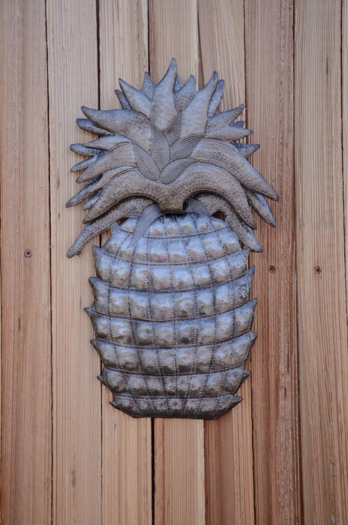 "Welcome Home Pineapple, Wall Decor, Recycled Haitian Metal Steel Art 9"" X 14.25"""