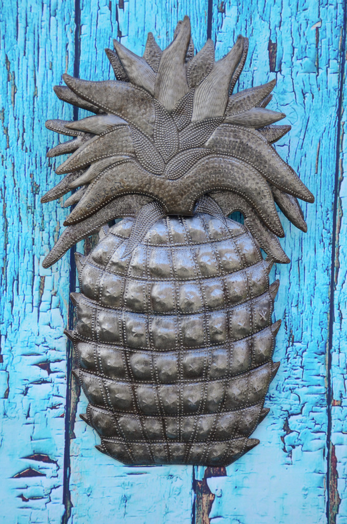 "Welcome Home Pineapple, Wall Decor, Recycled Haitian Metal Steel Art 9"" X 14.25"""