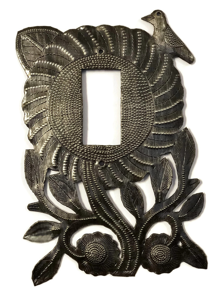 Switch Plate Cover, Rocker, Sunflower, Haiti, Handmade From Recycle Oil Drum (Rocker)