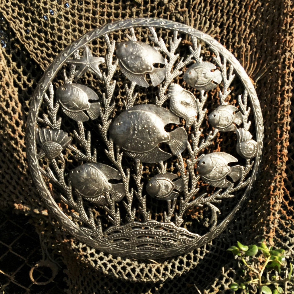"Haitian Metal Sea-life wall art 23"" X 23"""