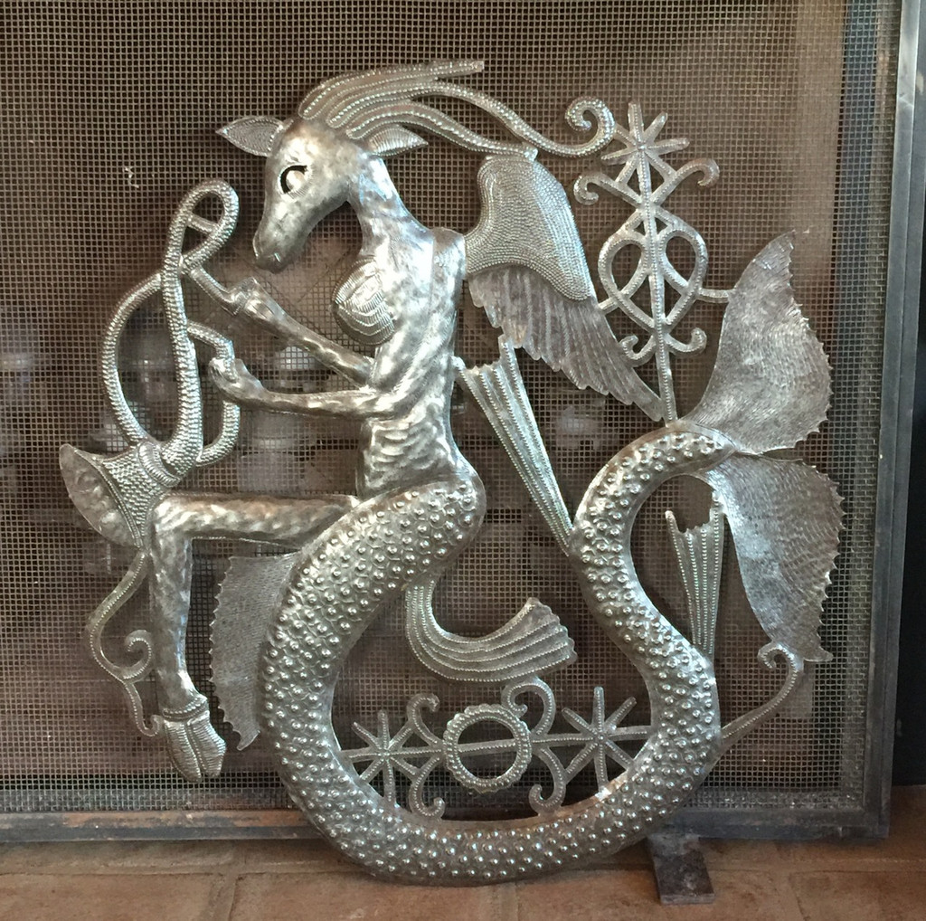 METAL ART HAITI VOODOO GOAT AND VEVE