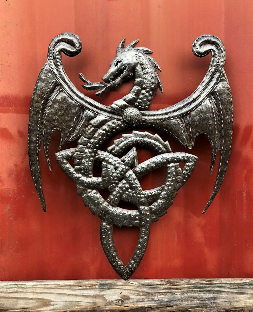 Metal Dragon, Artistic Haitian Wall Hanging Sculpture
