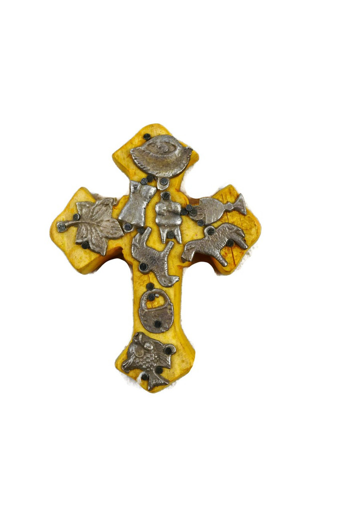 SMALL YELLOW WOODEN CROSS WITH MILAGRO CHARMS