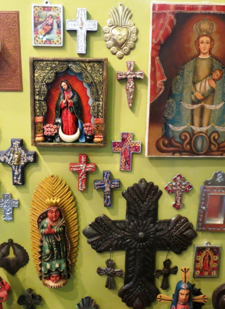 """Small Wooden Cross with Milagro  Charms    4"""""""
