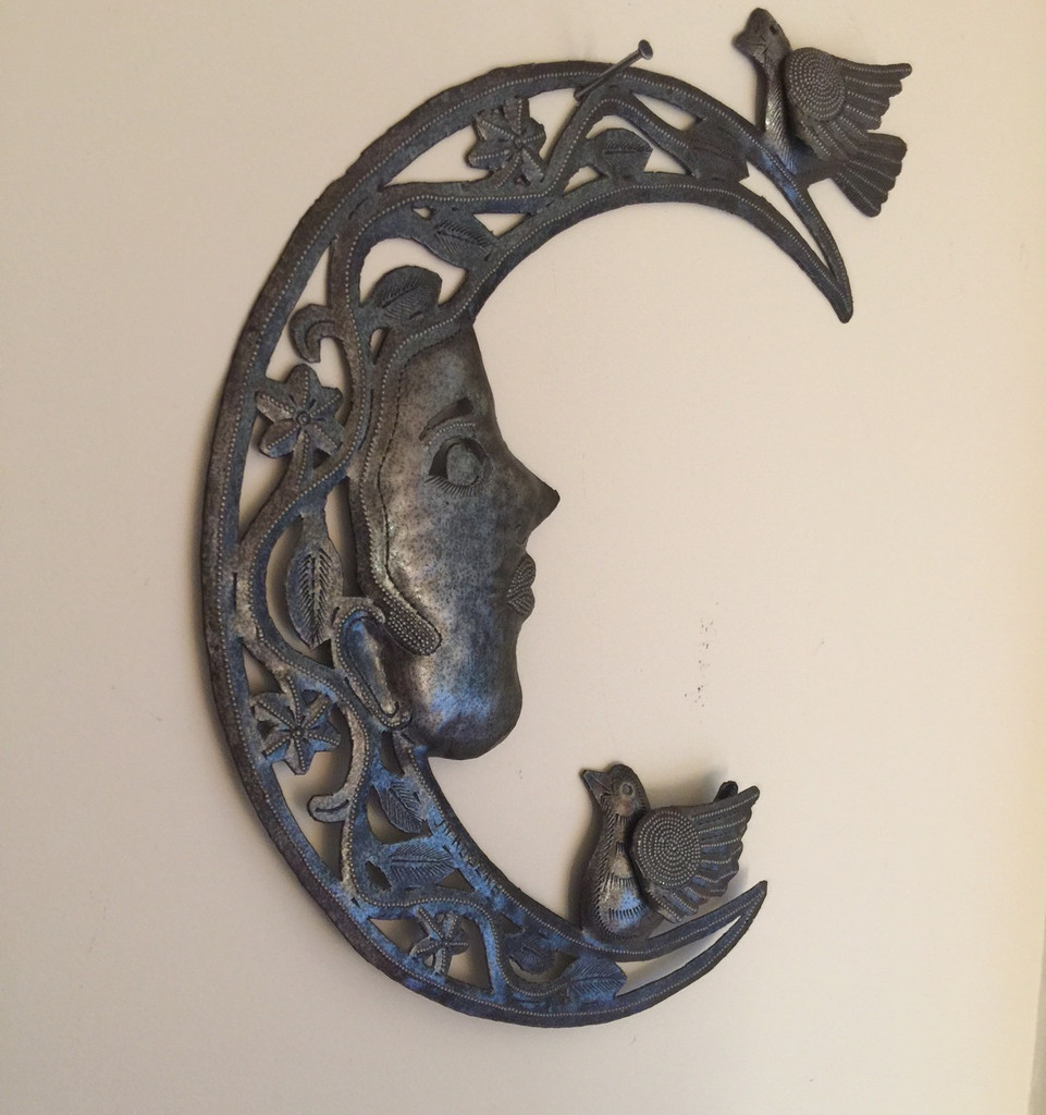 moon and birds haitian metal wall art