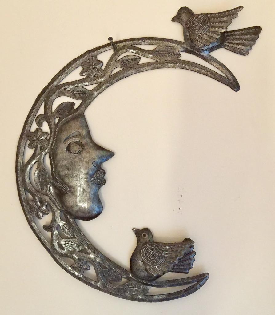 crescent moon with birds metal wall art haiti